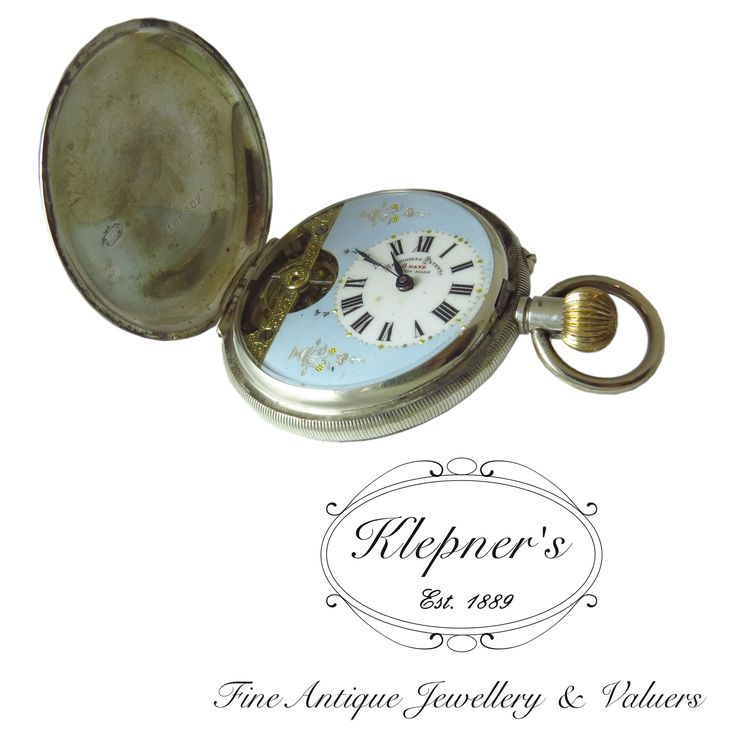 Sterling silver antique, engine turned, Swiss made eight day, crown wound pocket watch. Made by Ebdomas Patent.    Visit us at www.klepners.com.au
