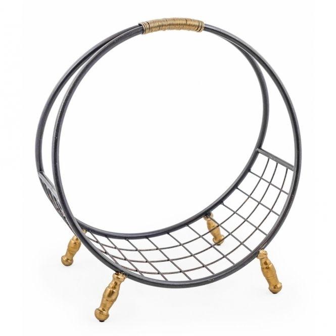 Hurn & Hurn Discoveries Round Metal Log Basket / Shelf - Black & Gold
