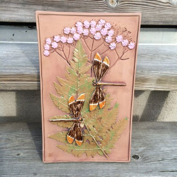 Retro dragonflies pink flowers tile plaque relief by PotsAndLamps