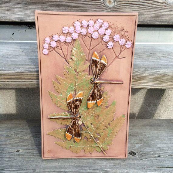 Retro dragonflies pink flowers tile plaque relief by PotsAndLamps