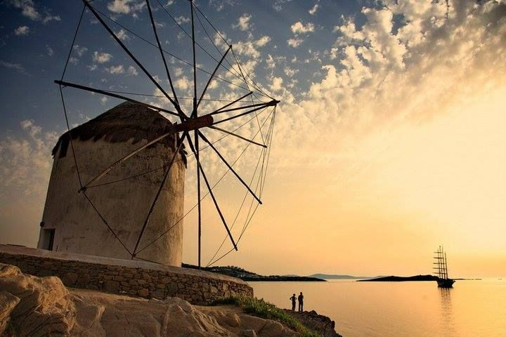 Such a wonderful view at Mykonos island!  Check out our top cruise destinations for 2015 and take the chance to discover them! Photo by Mykonos Island. #Mykonos #island #Cyclades #Greece #windmill #travel #cruise #sunset