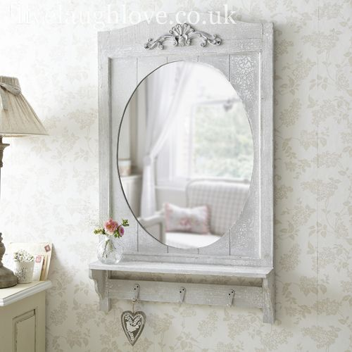 Rustic Mirror With Hooks Bathroom MirrorsBathroom ShelfShabby Chic