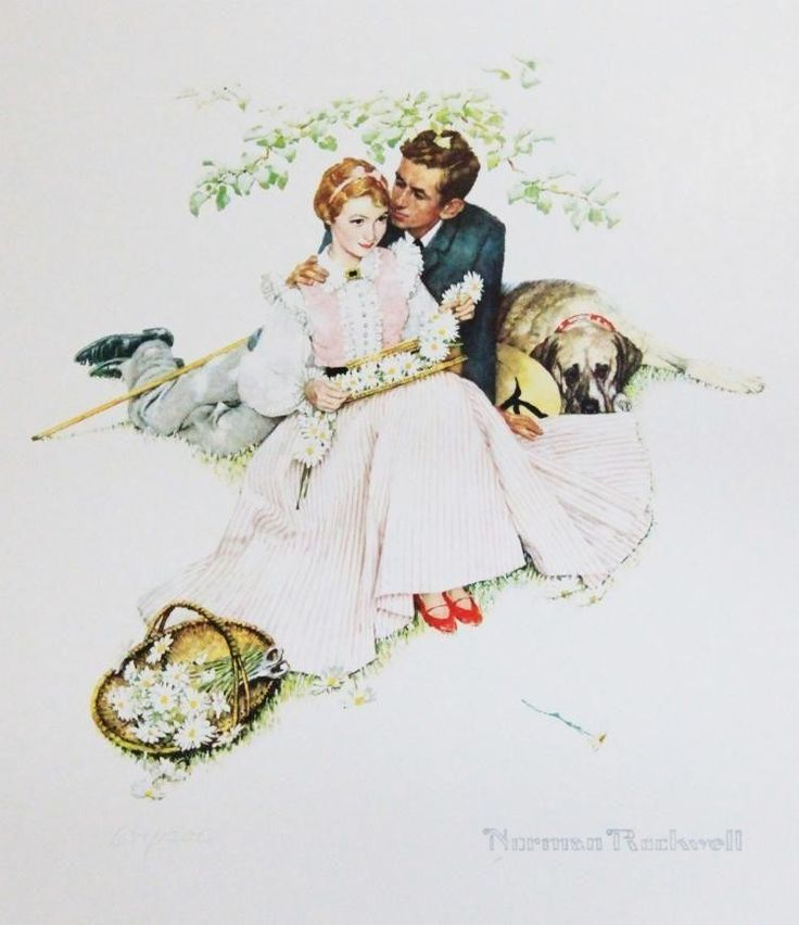 $300 LOT 30 Seller's Estimate: USD 180 - 360 Photomechanical graphic  Four Ages of Love: Flowers in Tender Bloom  by Norman Rockwell (UNFRAMED). A18J2 Payment: The buyer is responsible for paying the selle