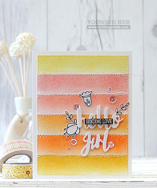 SSS Hello Friends; small flowers; SSS Painted Hello die; word die; pink yellow orange; watercolor stripes; DIB; pastel; very pretty