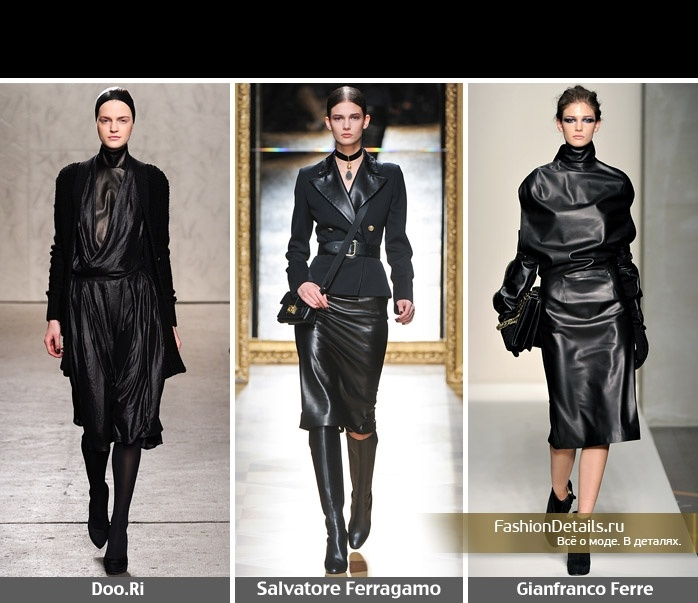 Черные кожаные платья и лаконичные пальто