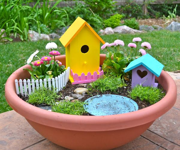 DIY fairy garden - great spring gardening activity for kids! we are making one this weekend! LOVE the 1$ bird house idea