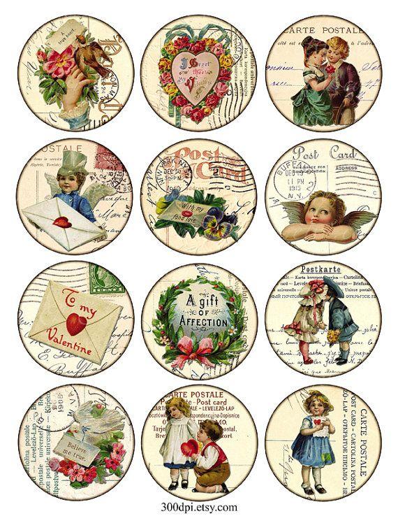 Vintage para imprimir etiquetas Digital Collage hoja - San Valentín - imágenes del gran círculo redondo 2,5 pulgadas ephemera fondo descargar e imprimir