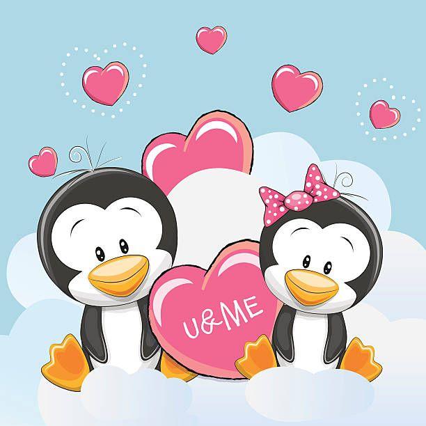 Duas linda pinguins - ilustração de arte em vetor