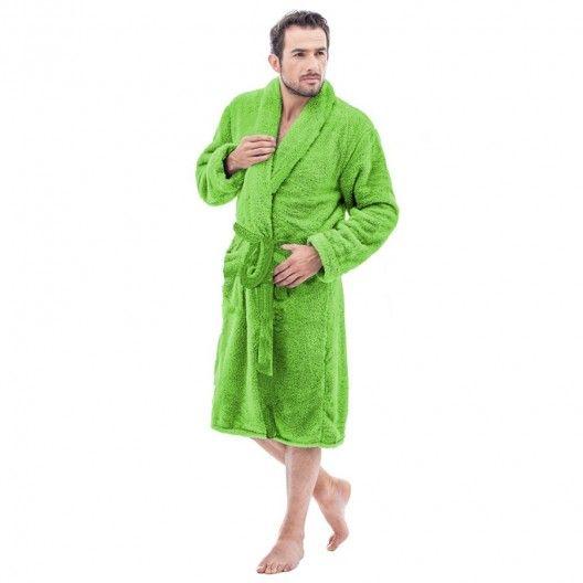 Teplý pánsky župan v zelenej farbe bez kapucne