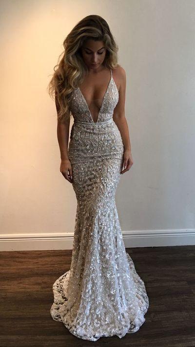 Sexy V-neck Mermaid Prom Dresses,Beading Evening Dresses,Spaghetti Long Dresses,167 from Happybridal