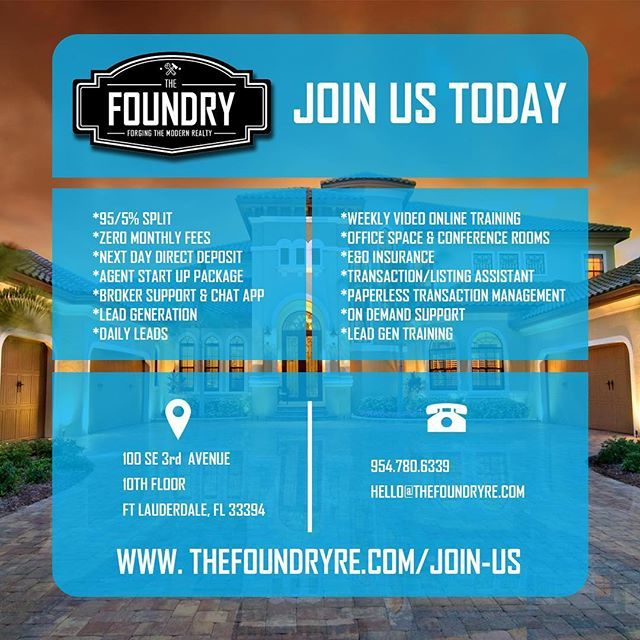 JOIN US TODAY!!! Launching Feb 1, 2018!! To learn more or to inquire about joint The Foundry as an agent and taking your real estate career to the next level follow the link in our bio! *** #hardwork #dedication #jointhefoundry #success #successful #beach #business #entrepreneur #miamirealestate #florida #realestate #realestateagent #investor #investing #investment #soflo #ftlauderdalerealestate #riseandgrind #livelife #realtor #broker  #miami #forsale #luxuryhomes #justlisted #justsold…