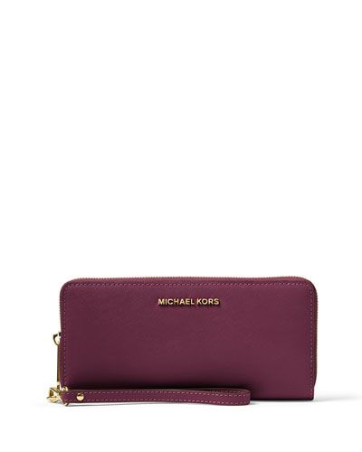 MICHAEL MICHAEL KORS Jet Set Travel Continental Wallet, Plum…