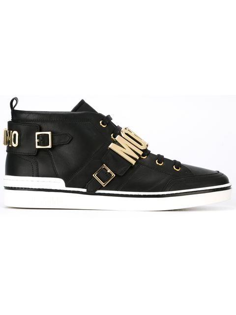 MOSCHINO Logo Plaque Hi-Top Sneakers. #moschino #shoes # ...