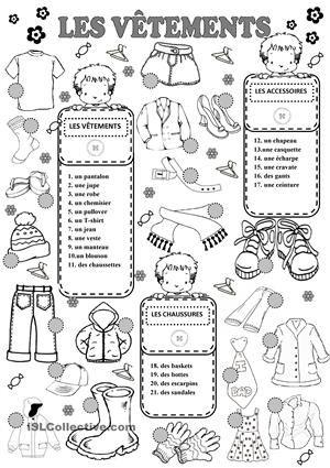 Les Vêtements fiche d'exercices - Fiches pédagogiques gratuites FLE