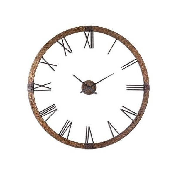 Amarion Clock Uttermost Wall Mounted Clock Clocks Home Decor (135.040 HUF) ❤ liked on Polyvore featuring home, home decor, clocks, battery clock, battery operated wall clock, wall clocks, oversized clock and outdoor wall clock