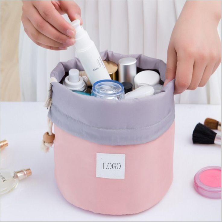 Barrel Shaped Nylon Drawstring Wash female Makeup Organizer Travel Cosmetics Toiletry Bag