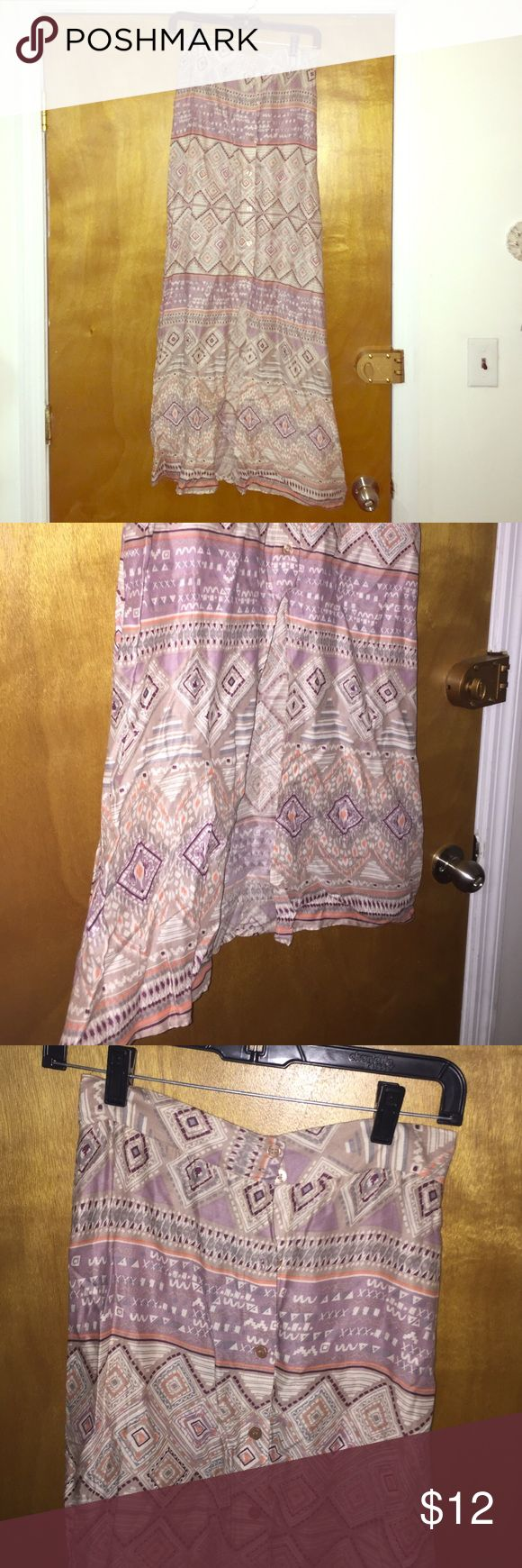 Tribal Maxi Skirt Button down maxi tribal skirt. Too small for me. Super cute and comfy. Skirts Maxi
