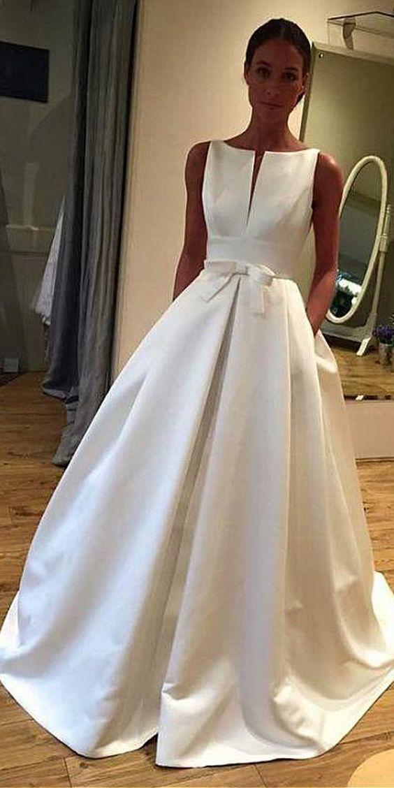 Elegant Satin Bateau Neckline A-line Wedding Dress With Bowknot   Pockets 1e9621122aa