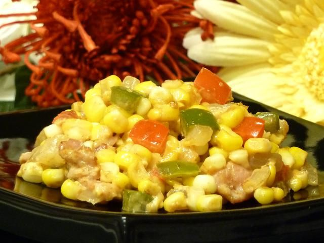 "Fresh Corn Gets The Royal Bacon Treatment In This Southern Side Dish: Bacon Corn Saute Recipe. Everything tastes better with bacon, especially fresh corn. This recipe is a Southern favorite sometimes referred to as ""fried corn."" The bell peppers add additional flavor as well as color."