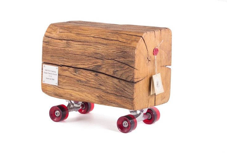 skateboard louis XIV is a 300 year-old oak log on wheels