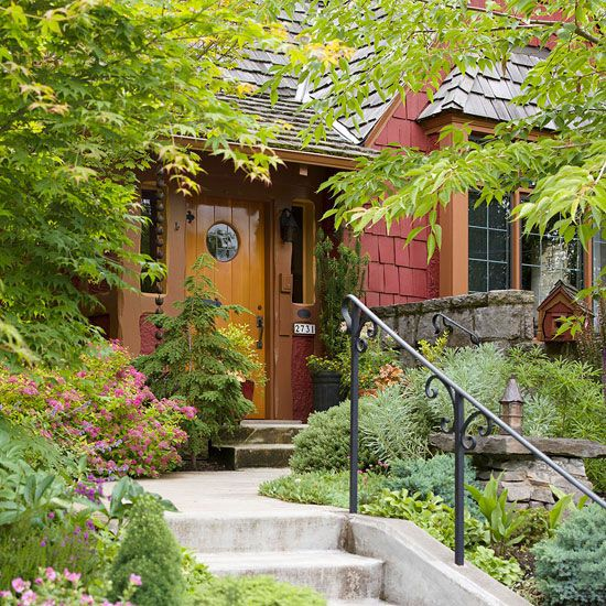 House numbers, the entry door lockset, a wall-mounted mailbox, and an overhead light fixture are all elements that can add style and interest to your home's exterior: http://www.bhg.com/home-improvement/exteriors/curb-appeal/ways-to-add-curb-appeal/?socsrc=bhgpin050314replaceoldhardware&page=2