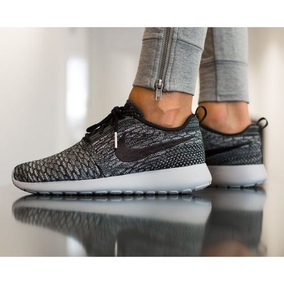 709b8fc6780 Nike Roshe One Flyknit Sneakers Roshe One Flyknit Sneaker.s Women s size 8.  Cool Grey Wolf Grey White Black. New in box. NO TRADES…