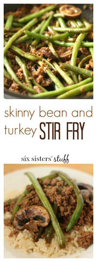 Skinny Green Bean and Turkey Stir Fry from Six Sisters' Stuff | This Stir Fry is healthy, easy to make, tastes better than any Chinese restaurant, and is made with ingredients you probably already have. A great healthy dinner recipe!