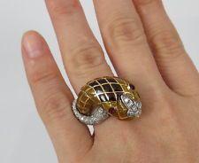 Vintage David Webb 0.35ct Diamante Ruby & Esmalte 18K Ouro Anel De Cobra tamanho 4.75
