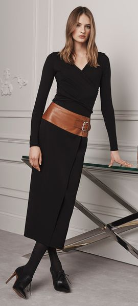 Ralph Lauren Pre-Fall 2016 Collection black dress women fashion outfit clothing style apparel @roressclothes closet ideas