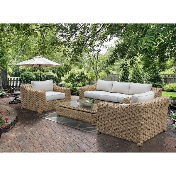 Dutil 4 Piece Rattan Sofa Seating Group With Cushions Rattan