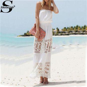 Платье Sheinside лето, горячая баян Plaj Elbiseleri Femininas Vestidos белый без бретелек цветочный вязка крючком макси