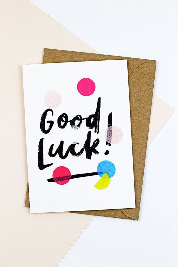 This cute, hand-lettered good luck! card is the perfect way to throw a little confetti! Celebrate in style with 250gsm thick, high quality gesso card that lends a chic, textured feel, and a design printed from real confetti. Each card is blank inside and comes with a contrasting