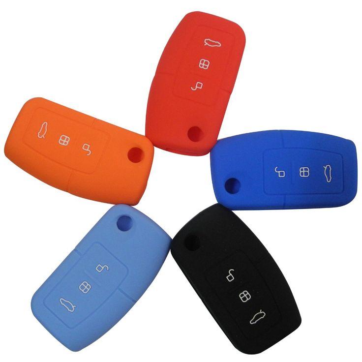 5 warna Silicone penutup kunci mobil penutup remote cocok untuk Ford Fiesta Fokus 2 Ecosport Kuga Melarikan Diri 3 Tombol lipat kunci dengan logo