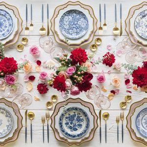 RENT: Anna Weatherley Chargers in Desert Rose/Gold Anna Weatherley Dinnerware in White/Gold Blue Garden Collection Vintage China Bella 24k Gold Rimmed Stemware in Blush 14k Gold Salt Cellars Tiny Gold Spoons
