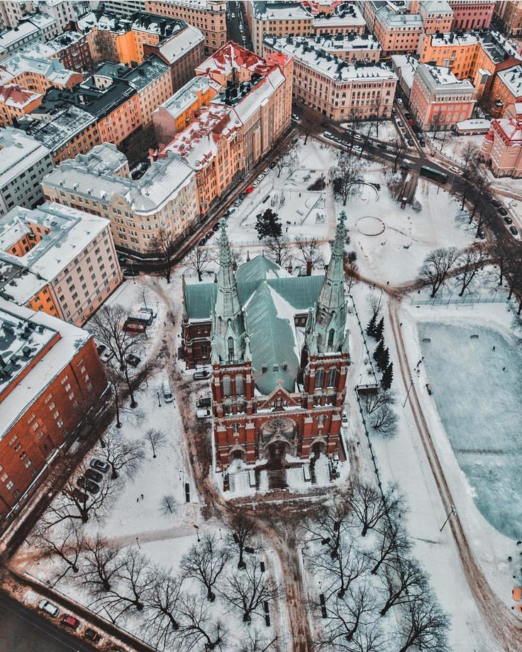 """VisitFinland (@ourfinland) on Instagram: """"Helsinki is looking amazing from above! Photo by @j.osh from Helsinki #VisitFinland #OurFinland…"""" #Helsinki #Finland #winter #snow"""