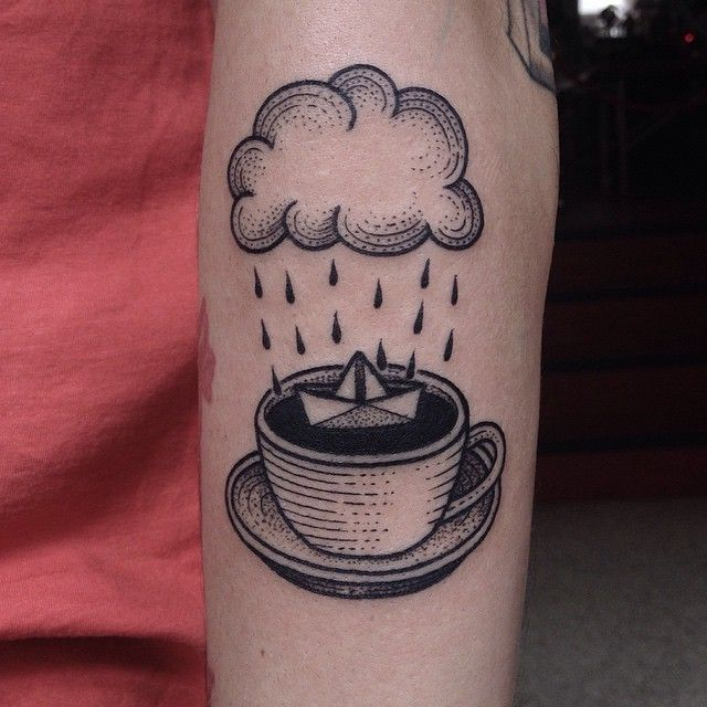 @suflanda tattoo in Germany paper boat in a coffee cup, tempest...