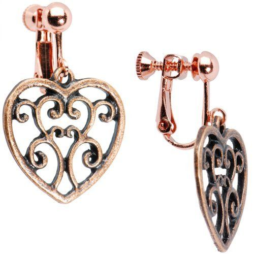 Handcrafted Filigree Hollow Heart Clip On Earrings Body Candy. Save 74 Off!. $6.99