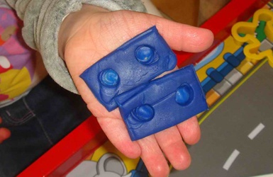 play dough shapes, shows that 2 and 2 make 4 (from this awesome website numicon.com)