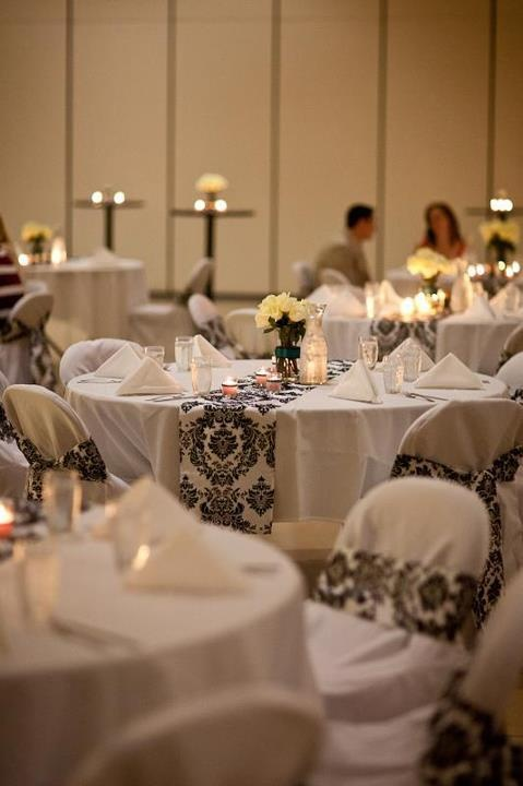 Efavormart Submitted: Dreamy Damask Table Runners And Chair Sashes Wrapped  Around White Chair Covers, Over All White Wedding Supplies. A Black And  White ...
