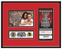 """2013 Stanley Cup Final 4x6 Photo & Ticket Frame - Chicago #Blackhawks, If you were fortunate to attend the 2013 Stanley Cup Final, you witnessed hockey history and you deserve a display as special as the event to prove it. Capture the memory of seeing two NHL """"Original Six"""" teams, the Boston Bruins and Chicago Blackhawks, battle for Lord Stanley's Cup with a 4x6 Photo & Ticket Frame."""
