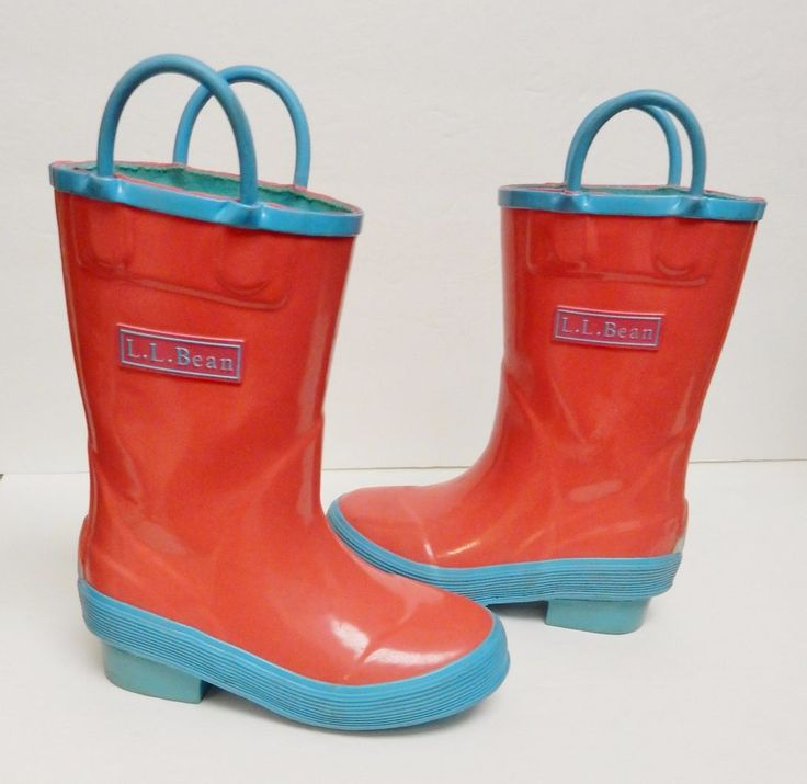 L.L. Bean Boots Puddle Stomper Rain Ruby Coral Turquoise Waterproof Toddler 5 #LLBean #Boots