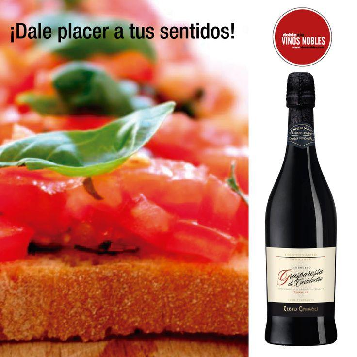 Armonías que llenan de placer tus sentidos: Bruschetta al Pomodoro + Lambrusco Cleto Chiarli Centenario Tinto. #VinosNobles
