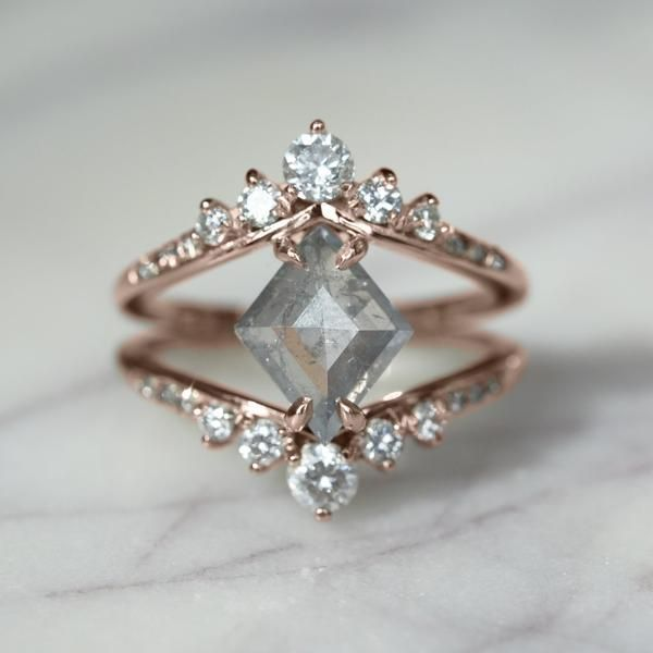 Geometric Diamond Engagement Ringm, 14K Rose Gold This amazing ring features a g…