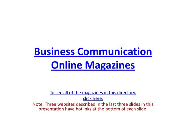Directory of Business Communication Online Magazines