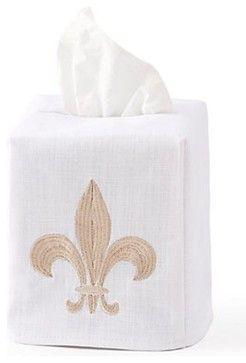 Tissue Box Cover, Fleur-de-lis Beige - traditional - Bath And Spa Accessories - Jacaranda Living