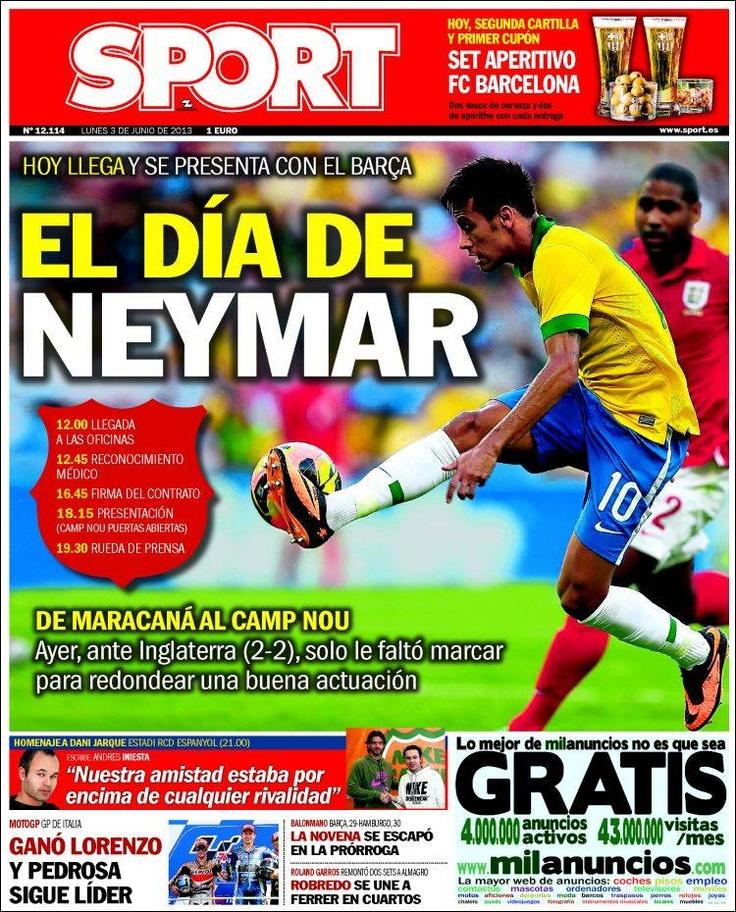 Los Titulares y Portadas de Noticias Destacadas Españolas del 3 de Junio de 2013 del Diario Deportivo Sport ¿Que le parecio esta Portada de este Diario Español?