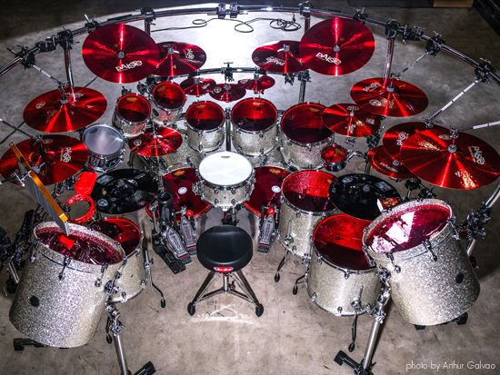 Aquiles Priester drum kit with Paiste 900