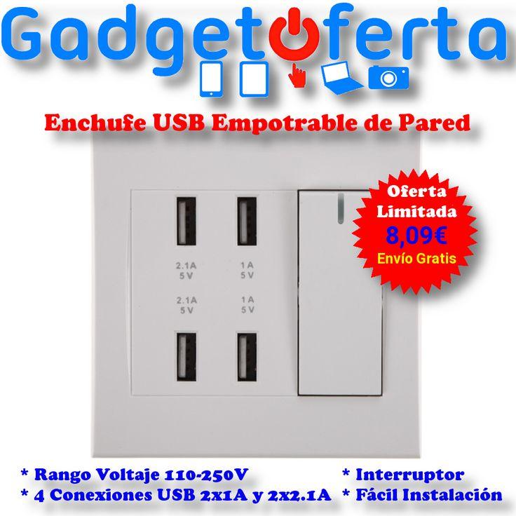Olvídate de los incómodos #cargadores #USB de viaje, e instala un #enchufe #USB empotrable de pared.