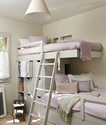 Bunk beds with storage and we could adjust the height of each bed. Can turn the lower bed into a sofa/daybed when they move into separate rooms.