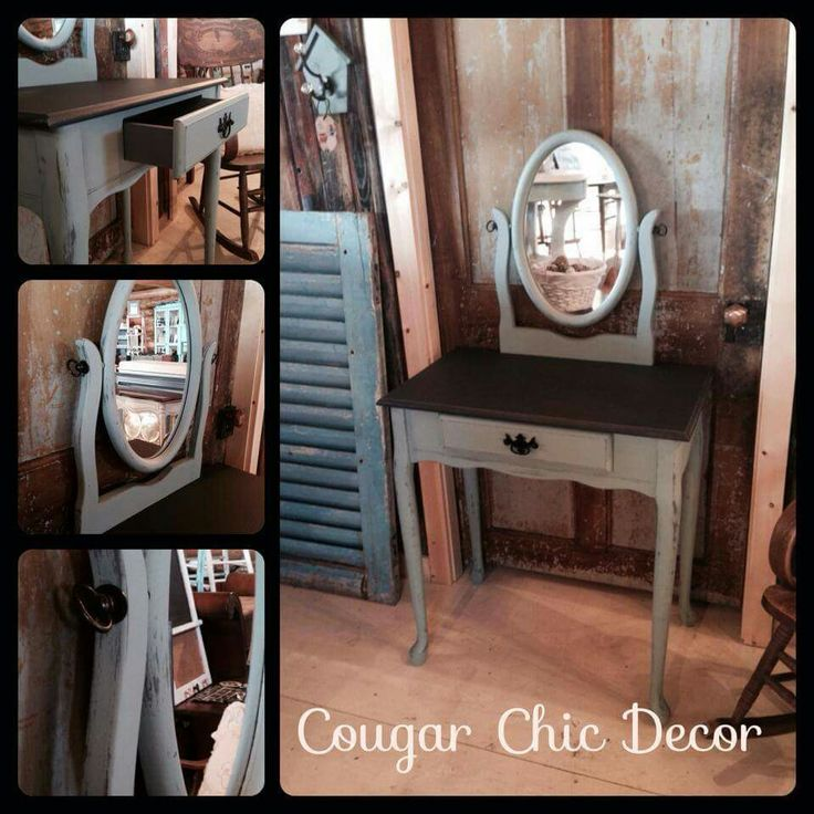 Here is a beautiful vanity that I custom painted using Van Gogh 'chivalry', 'patina' & 'mascara' with minimal distress. It looks so pretty and sophisticated now:) www.albertadames.ca